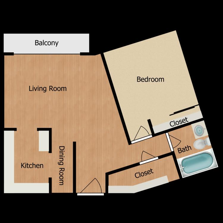 Floor plan image of Plan J 1 Bed 1 Bath
