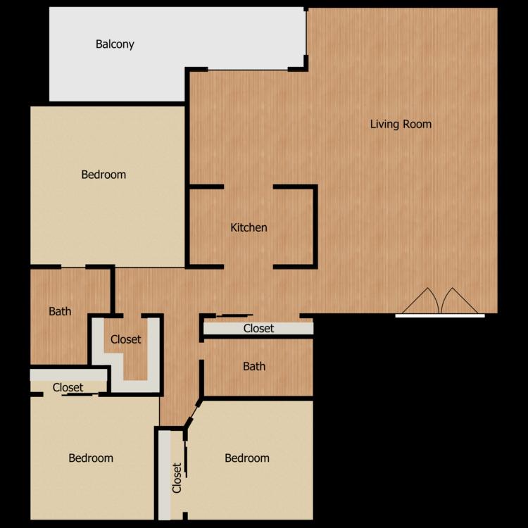 Floor plan image of Plan K 3 Bed 2 Bath