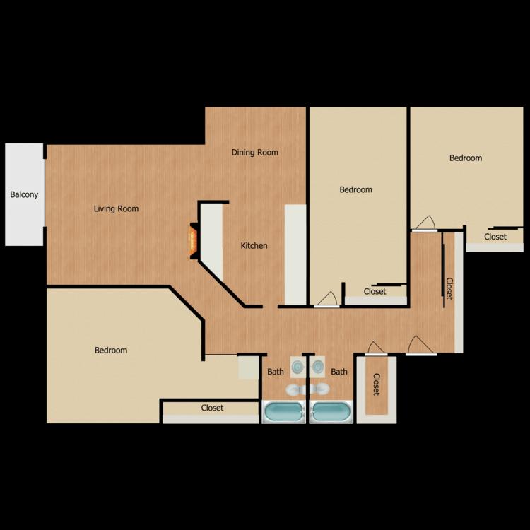 Floor plan image of Plan D 3 Bed 2 Bath