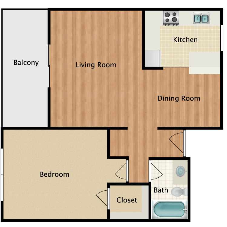 Floor plan image of 1 Bed 1 Bath Balcony