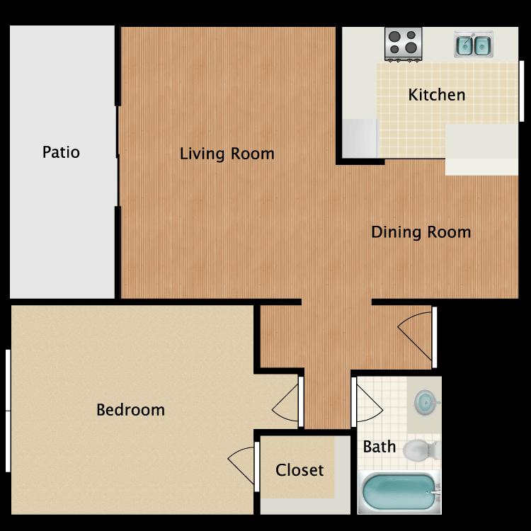 Floor plan image of 1 Bed 1 Bath Patio