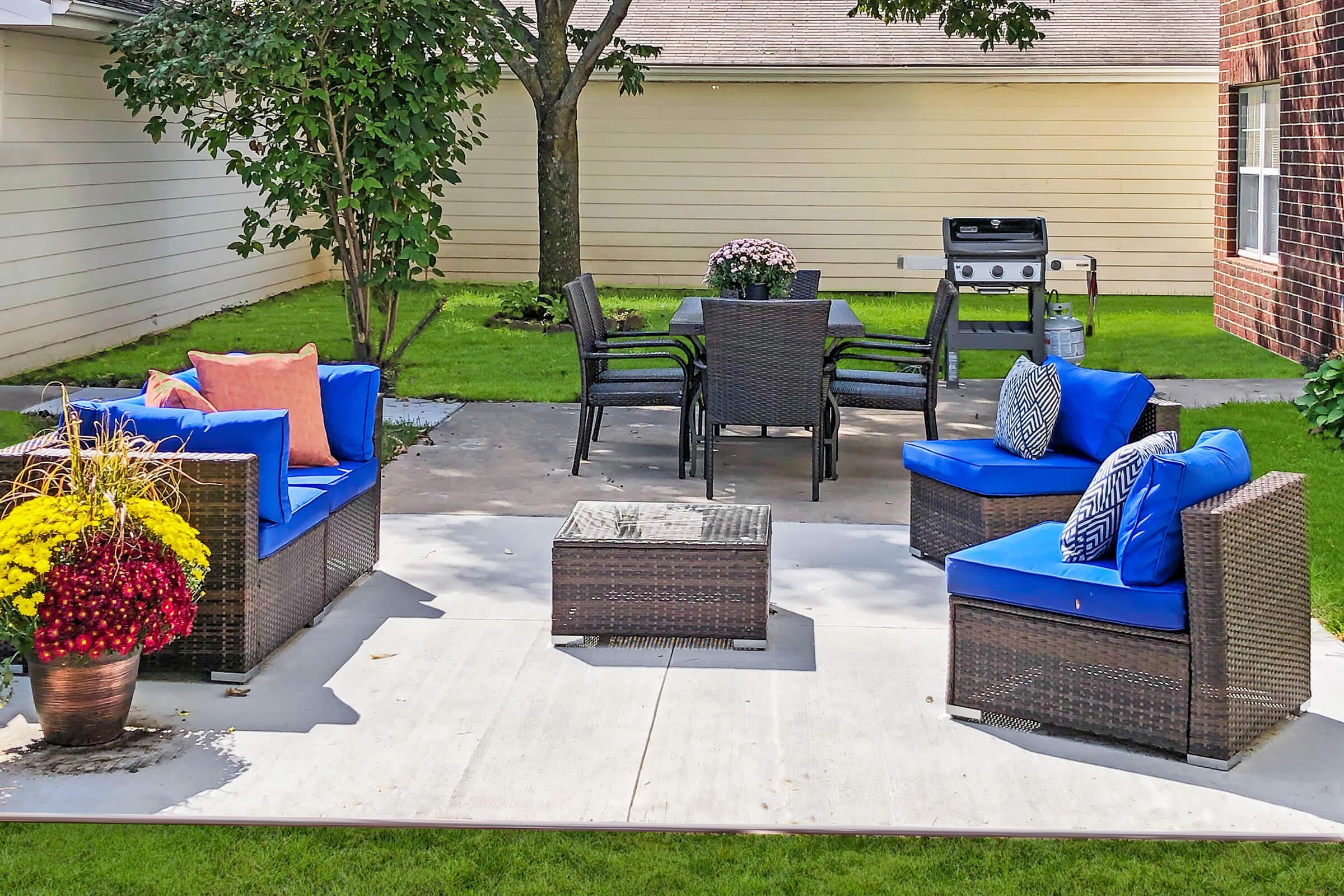 a blue bench in a garden