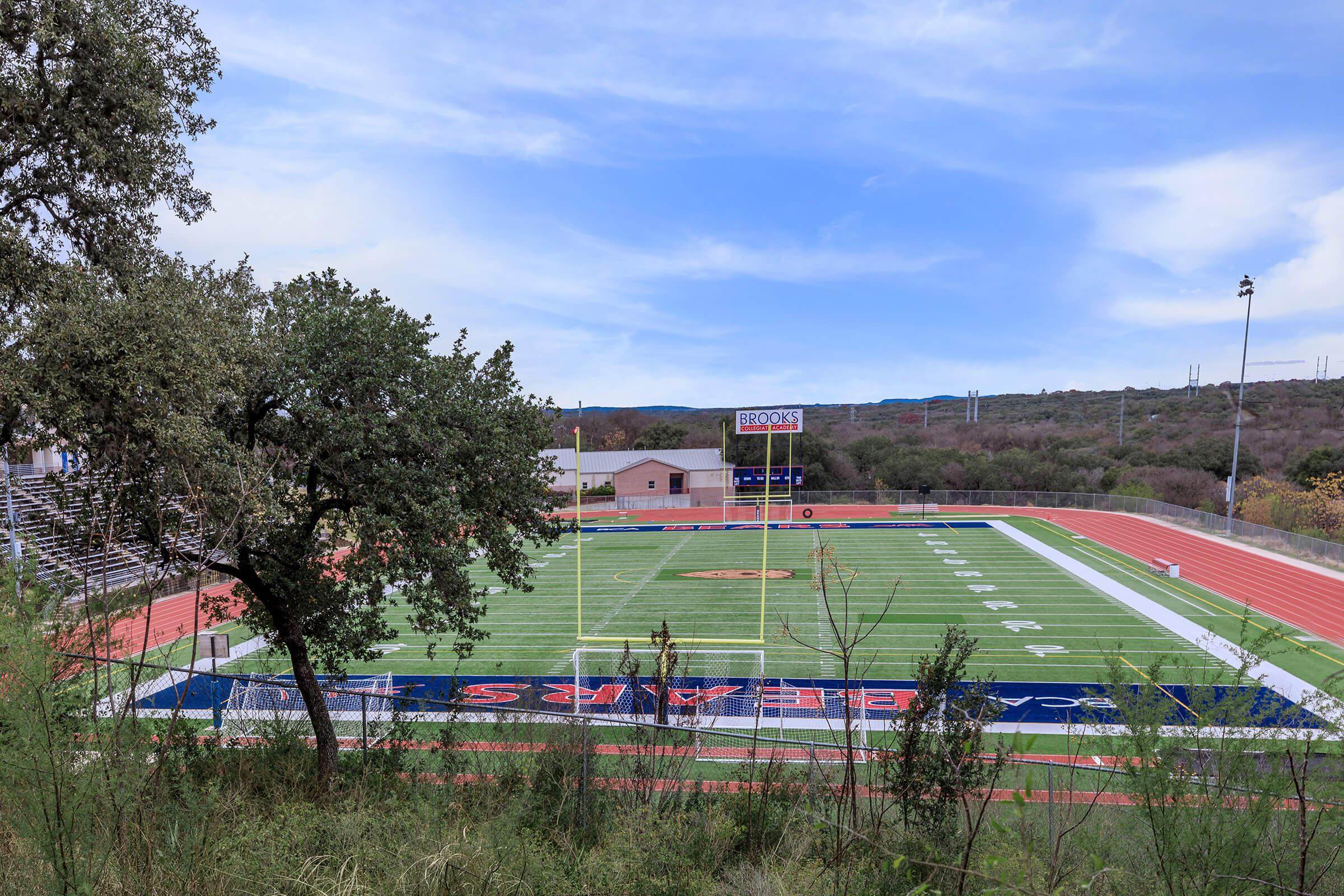 a close up of a football field