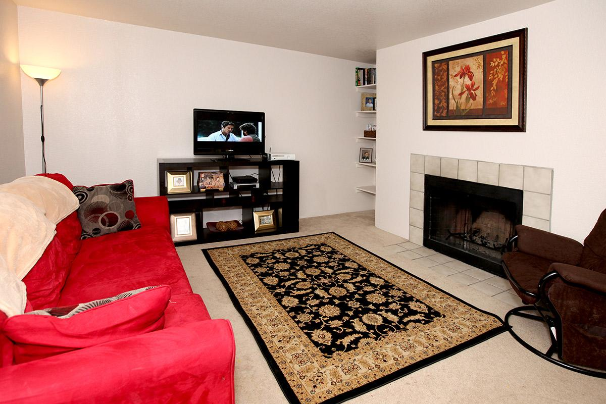 a living room with a red rug