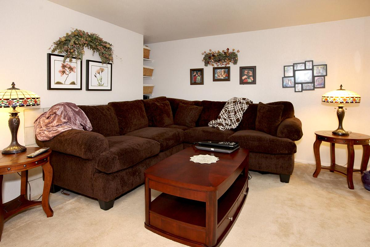 a living room filled with furniture and a wood floor