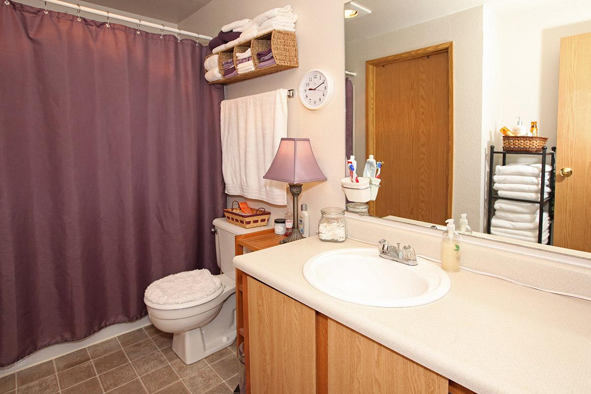 a bedroom with sink and shower curtain