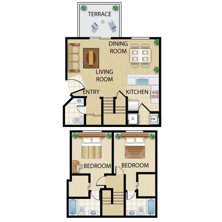 Floor plan image of Plan B- 2 bed 2.5 bath