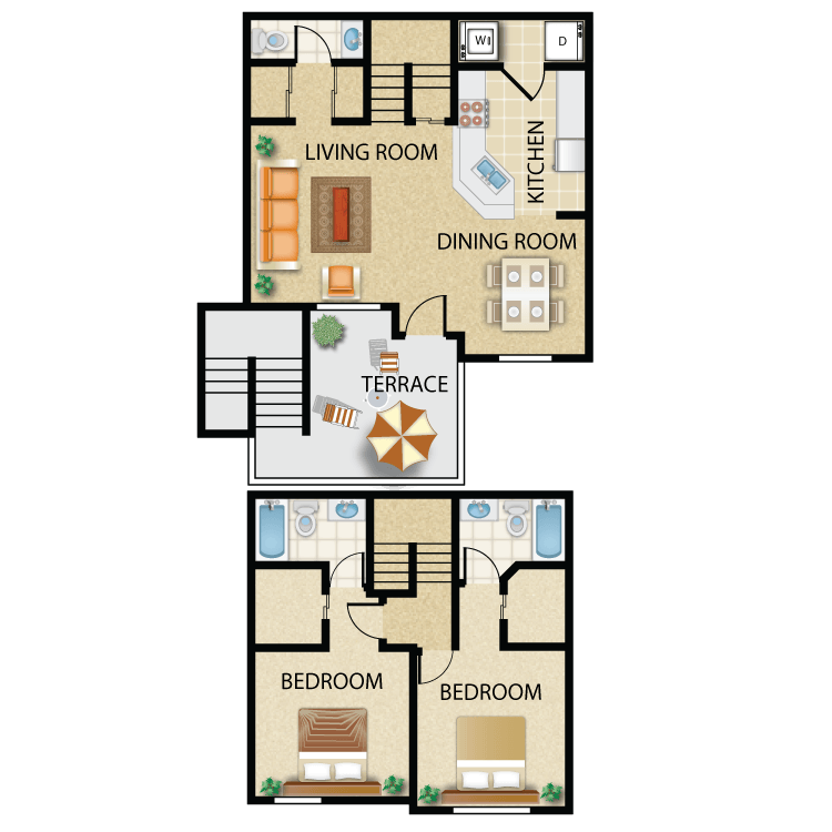 Floor plan image of Plan C- 2 bed 2.5 bath