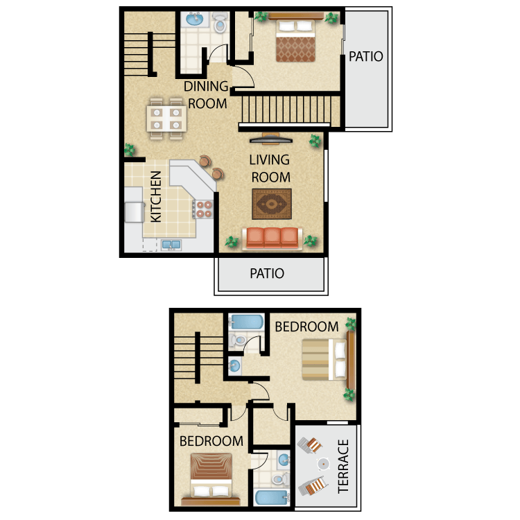 Floor plan image of Plan D- 3 bed 2.75 bath