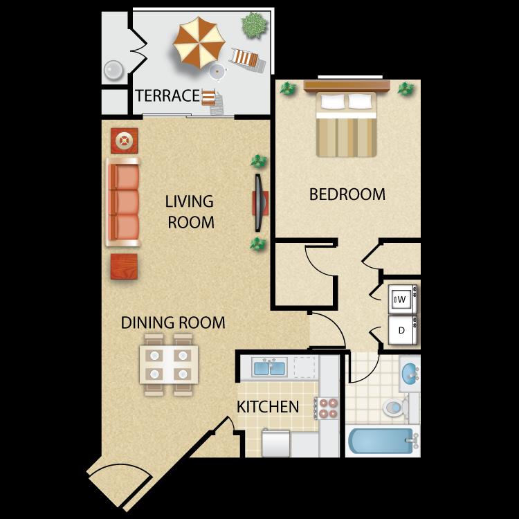 Floor plan image of Plan G- 1 bed 1bath