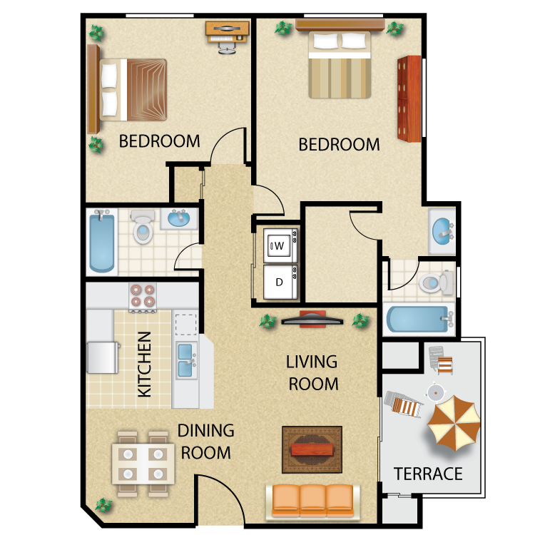 Floor plan image of Plan I- 2 bed 2 bath