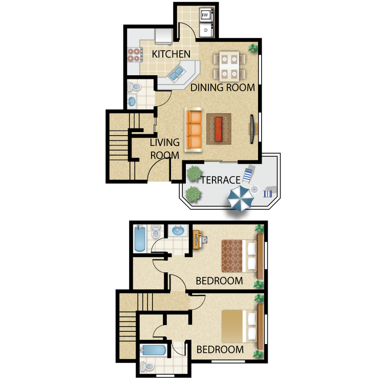 Floor plan image of Plan J- 2 bed 2.5 bath