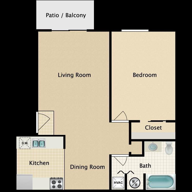 Floor plan image of A2 1 Bed 1 Bath