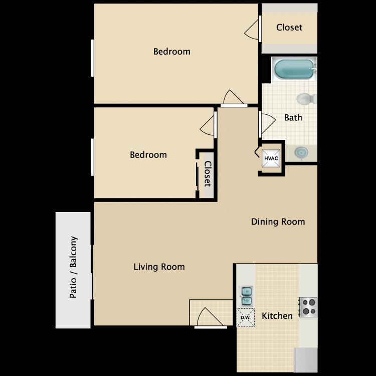 Floor plan image of B5 2 Bed 1 Bath