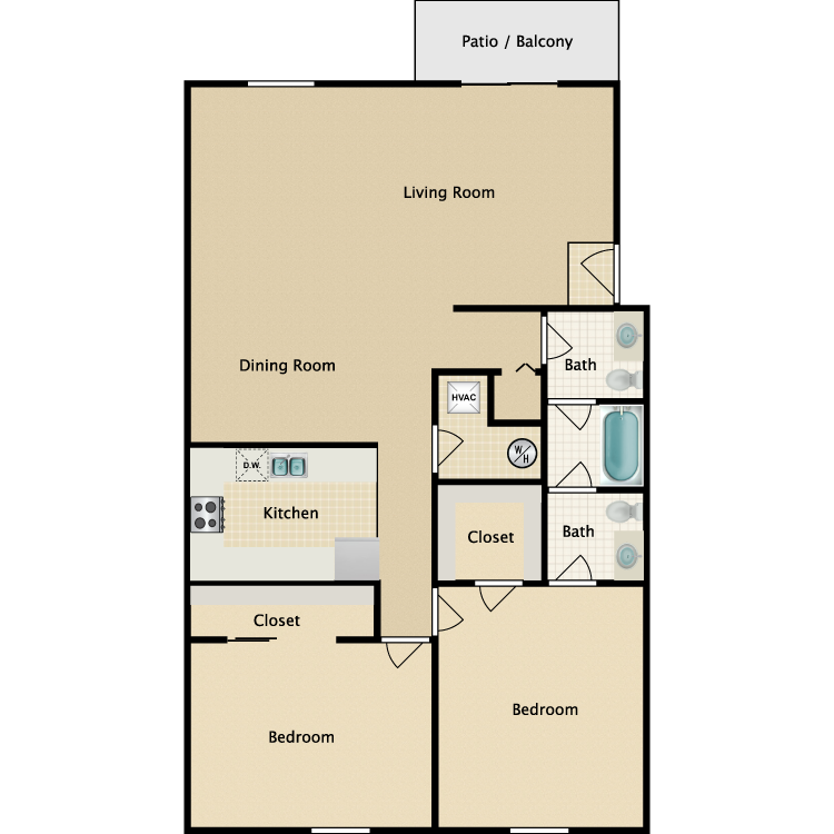 Floor plan image of B6 2 Bed 1.5 Bath