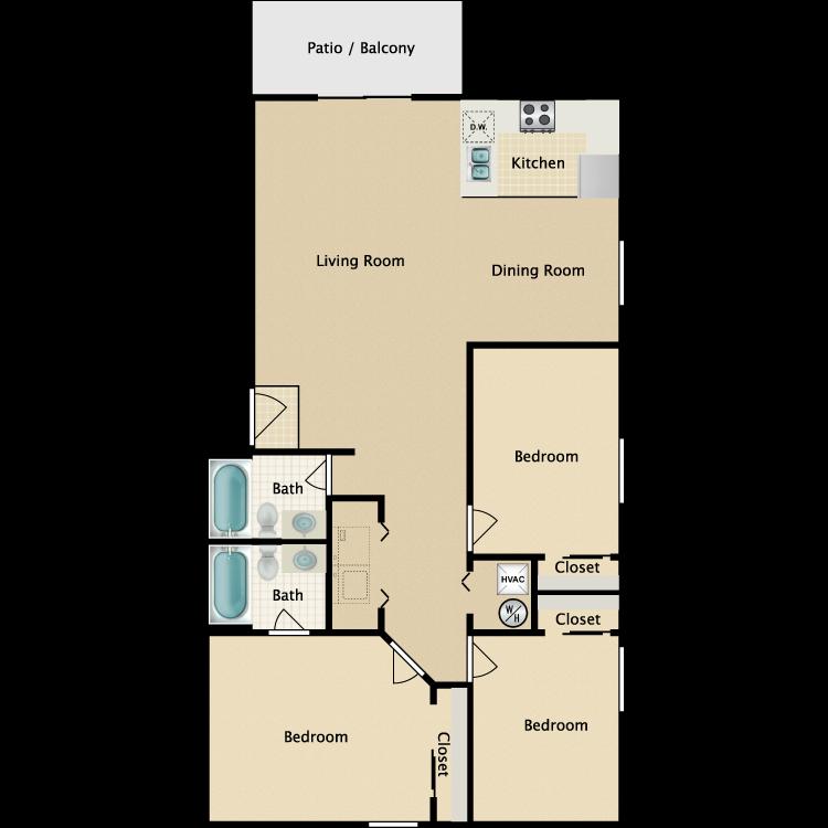 Floor plan image of C1 3 Bed 2 Bath