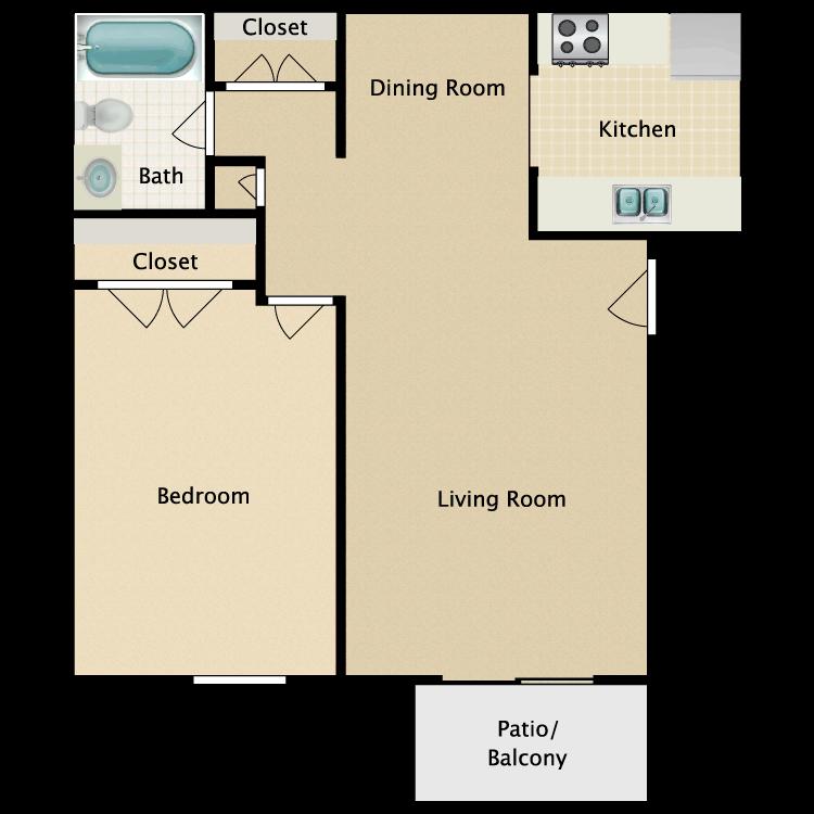 Floor plan image of A3 1 Bed 1 Bath