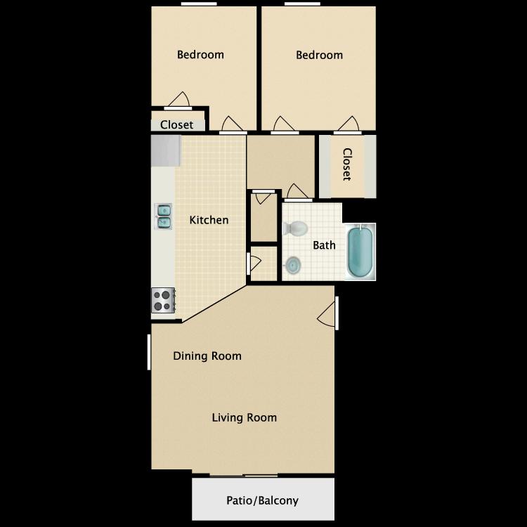 Floor plan image of B1 2 Bed 1 Bath