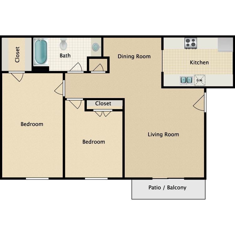 Floor plan image of B4 2 Bed 1 Bath