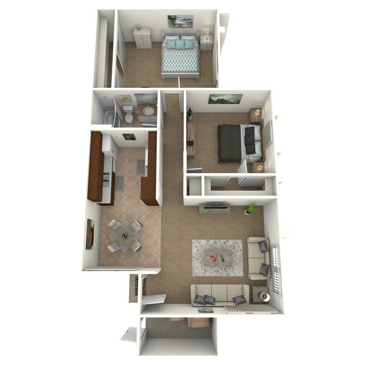 2 Bed 1 Bath floor plan image