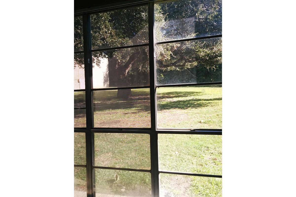 a glass door
