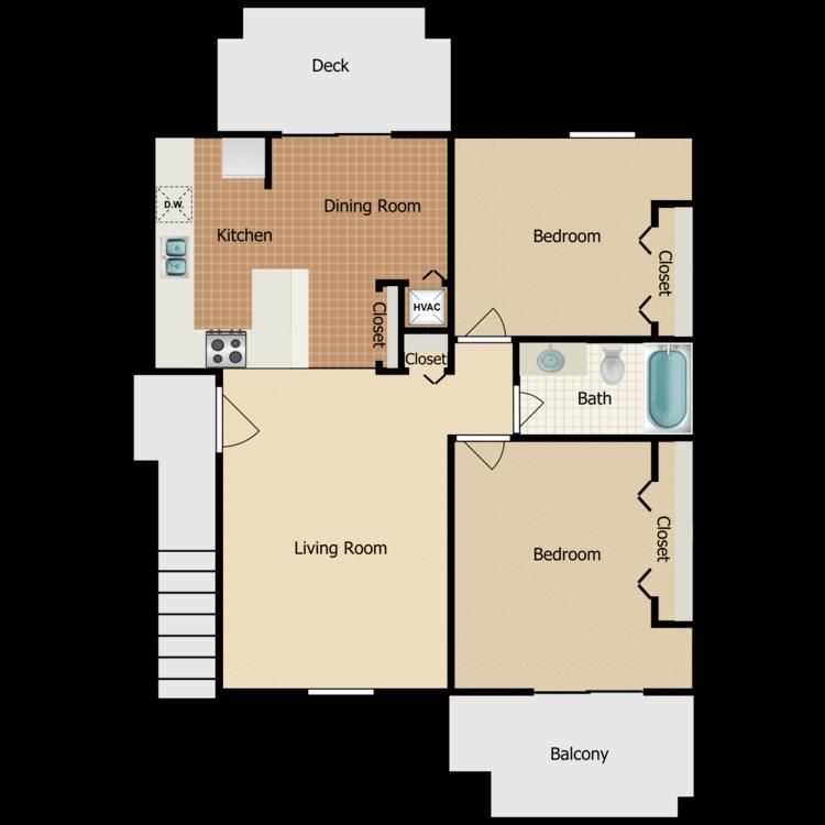 2 Bedroom Balcony & Patio floor plan image