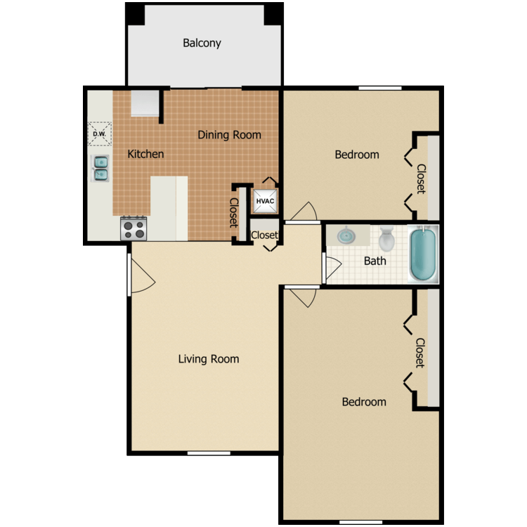 2 Bedroom Extended Master Bedroom floor plan image
