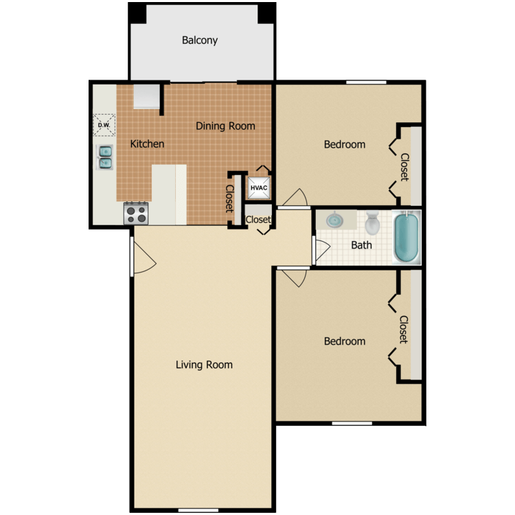 2 Bedroom Extended Living Room floor plan image
