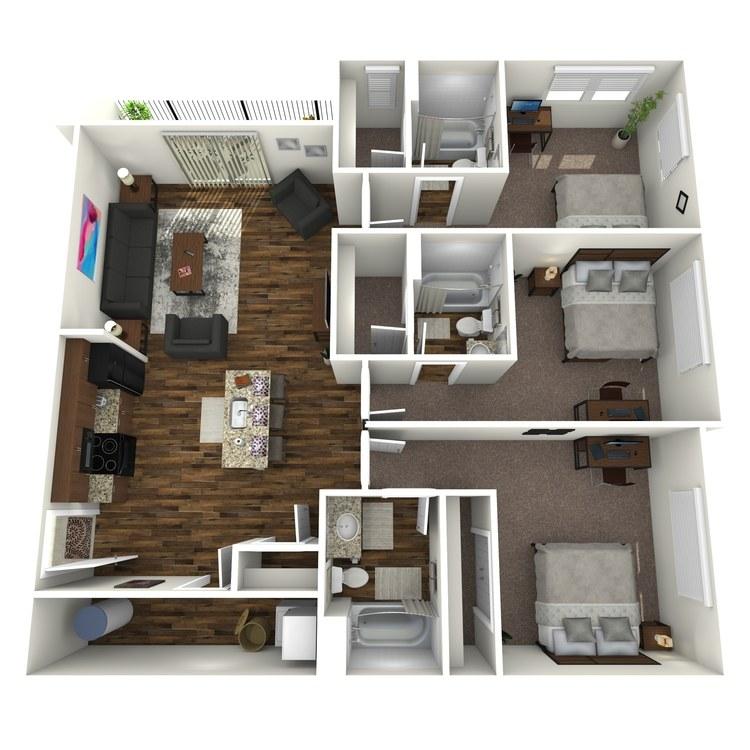 3 Bedroom floor plan image