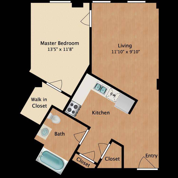 Floor plan image of 1 Bedroom A4