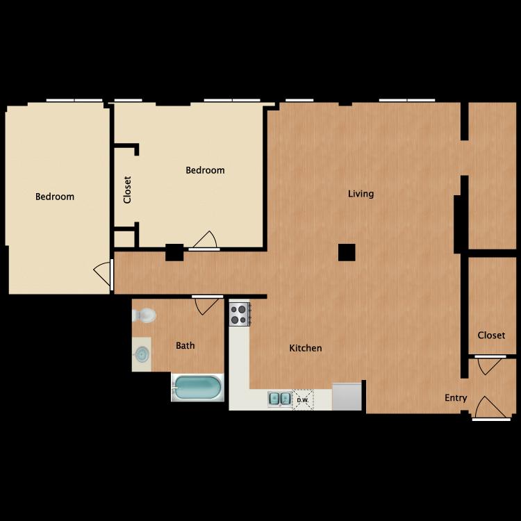 Floor plan image of 2 Bedroom B1