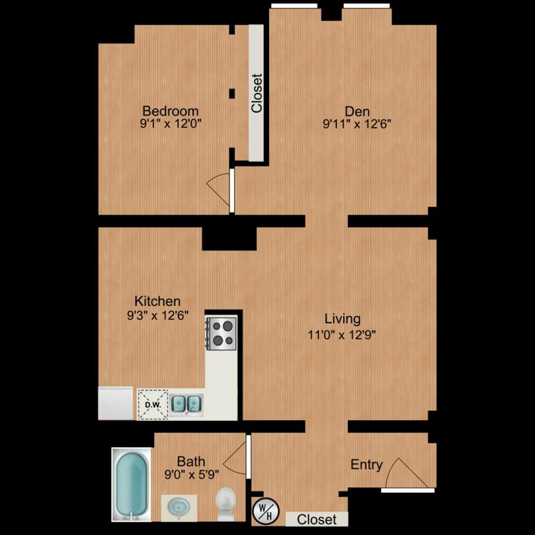 Floor plan image of 1 Bedroom A6
