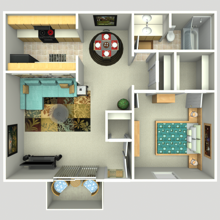 Floor plan image of 1 Bed 1 Bath E