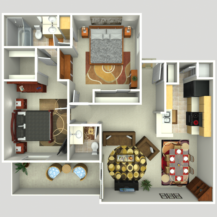 Floor plan image of 2 Bed 1.5 Bath B