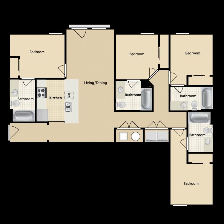 Floor plan image of 4 Bed 4 Bath Large