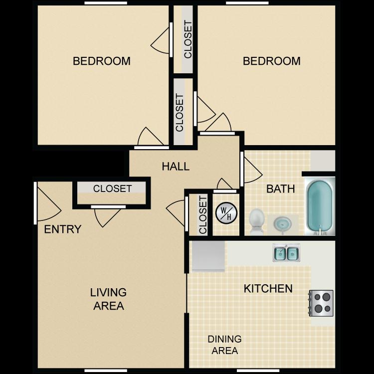 Floor plan image of 2 Bedroom 1 Bath