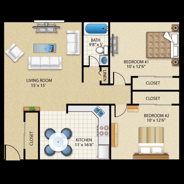 Floor plan image of 2 Bed 1 Bath w/ patio/balcony - ADIRONDACK