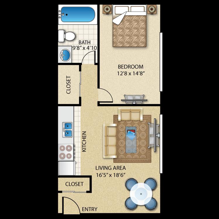 Floor plan image of 1 Bed 1 Bath - HUDSON