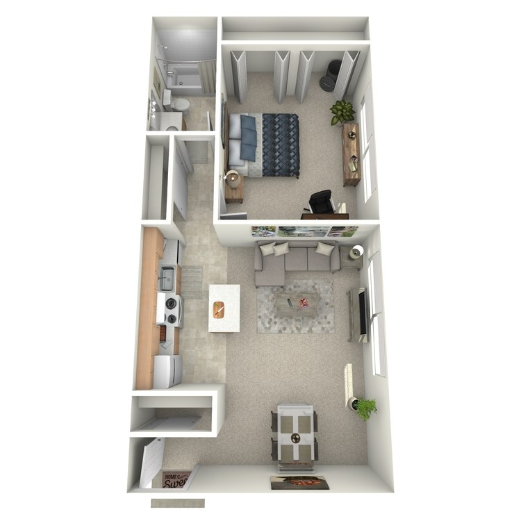 Floor plan image of 1 Bed 1 Bath - HUDSON