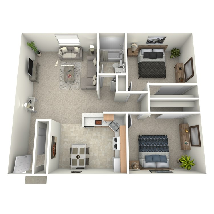 Floor plan image of 2 Bed 1 Bath w/ patio/balcony - ADIRONDACK