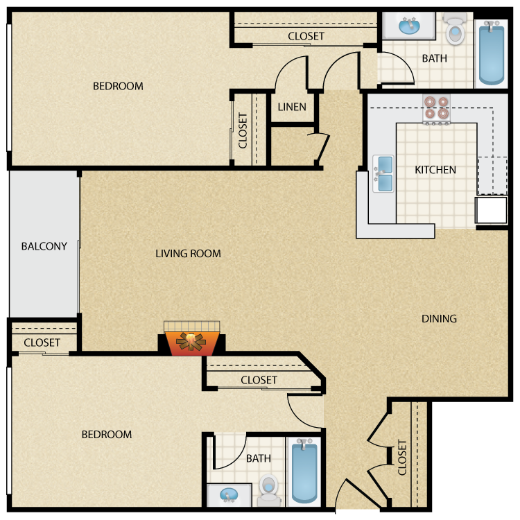 Floor plan image of Bergman 2 Bed 2 Bath