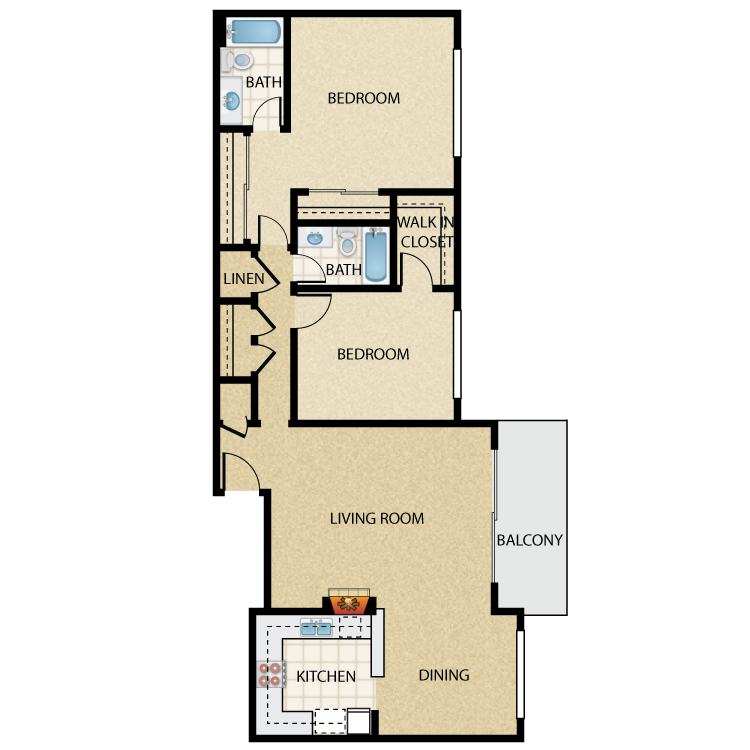 Floor plan image of Bogart 2 Bed 2 Bath