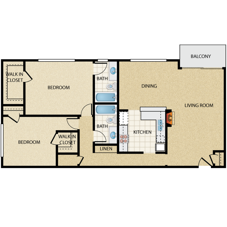 Floor plan image of Cooper 2 Bed 2 Bath