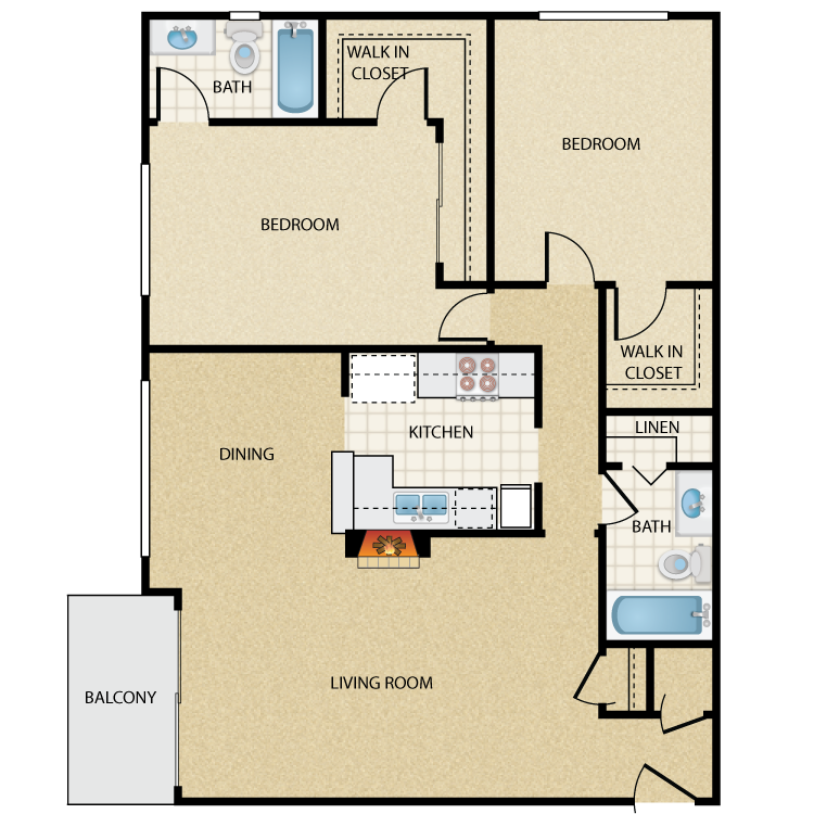 Floor plan image of Fairbanks Two Bedroom Two Bath