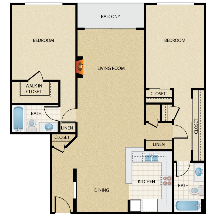Floor plan image of Monroe 2 Bed 2 Bath