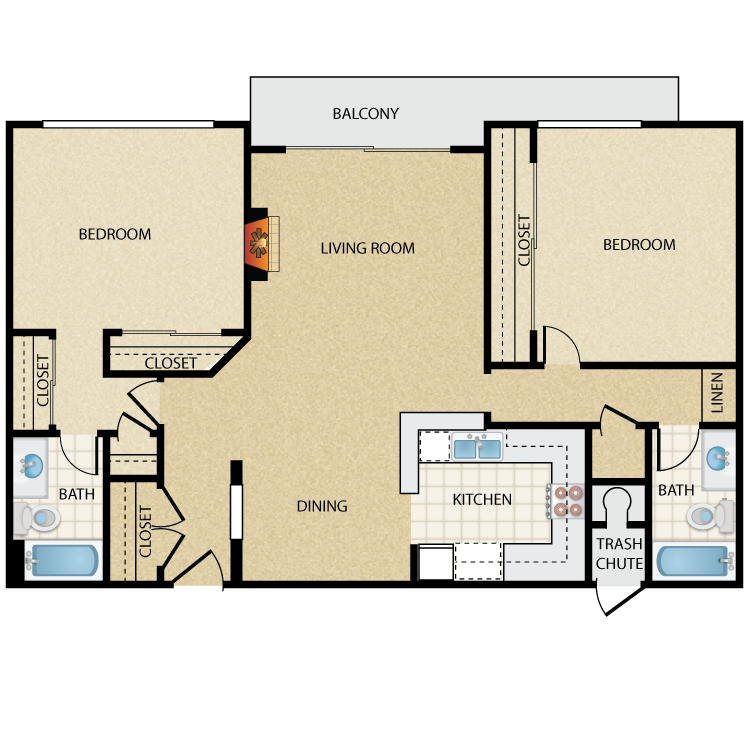 Floor plan image of Pickford Two Bedroom Two Bath