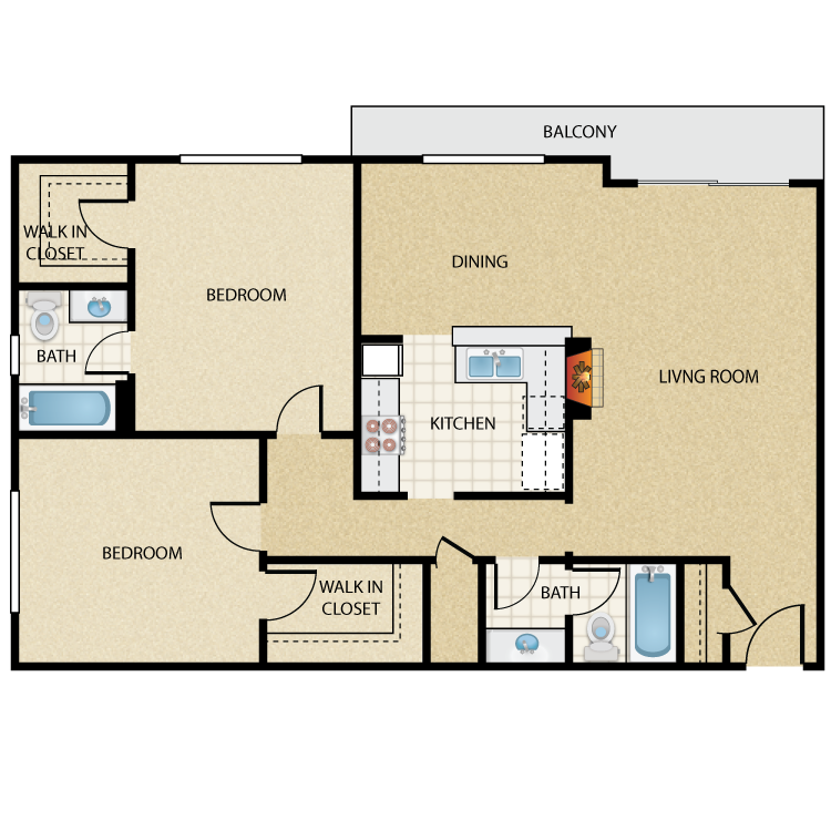 Floor plan image of Valentino Two Bedroom Two Bath