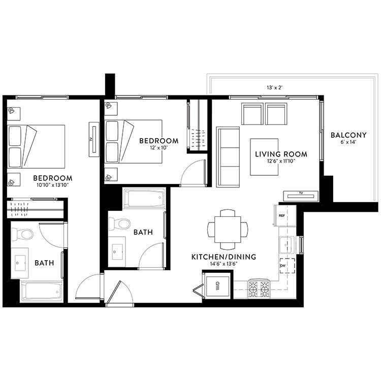 Plan 2B floor plan image