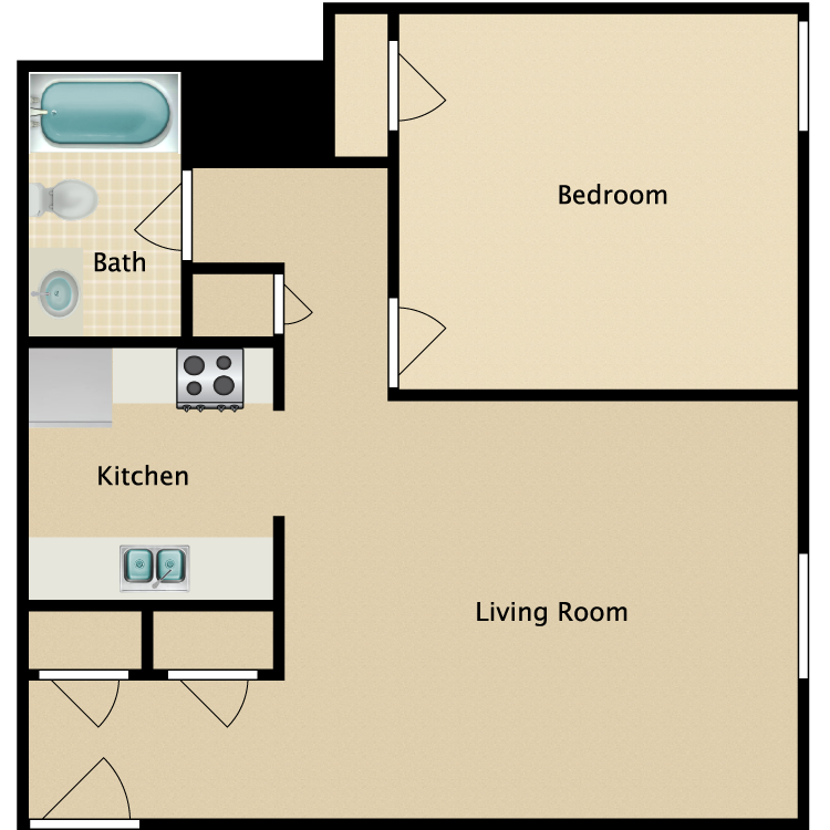 Floor plan image of 1 Bed 1 Bath B
