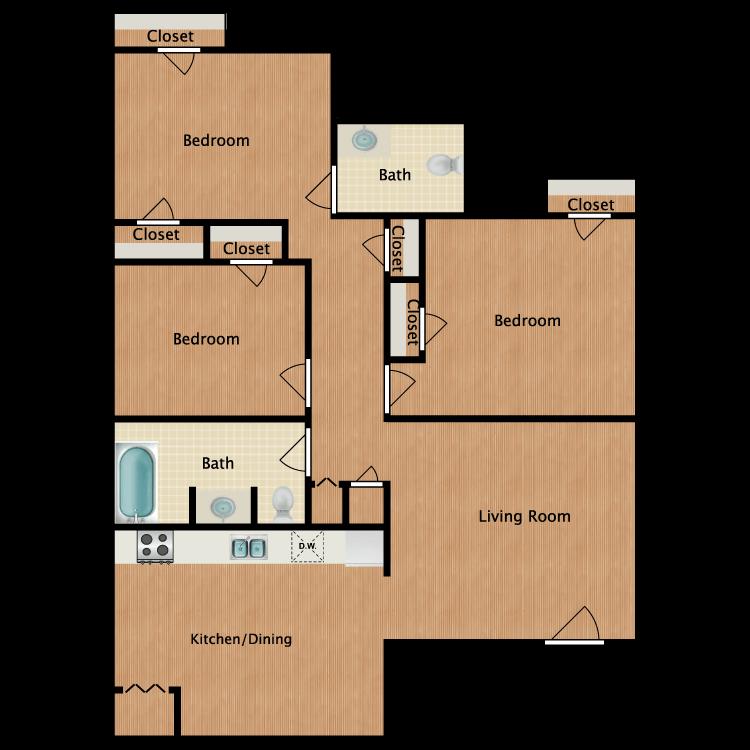 Floor plan image of 3x1.5